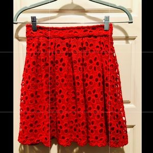 GB Red, Eyelet Skirt. Size XS. Never Worn